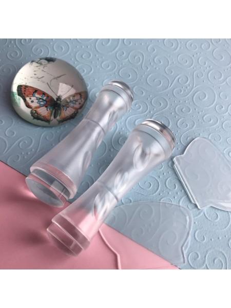 Штамп для стемпинга двухсторонний+скрапер (без крышек) прозрачный