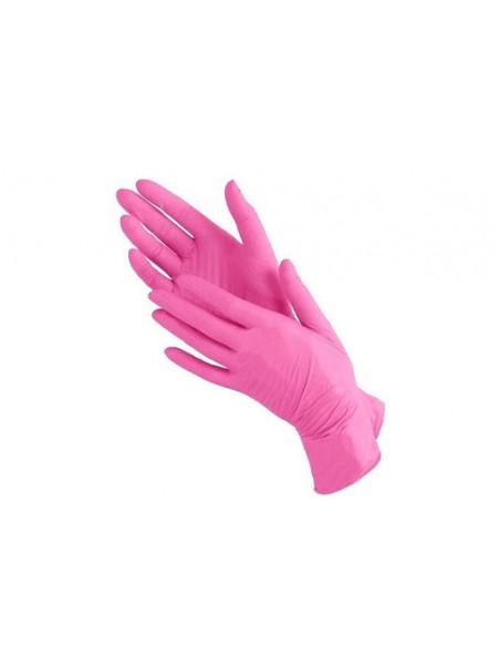 Перчатки нитриловые розовые, размер M, 100 шт. Медиком