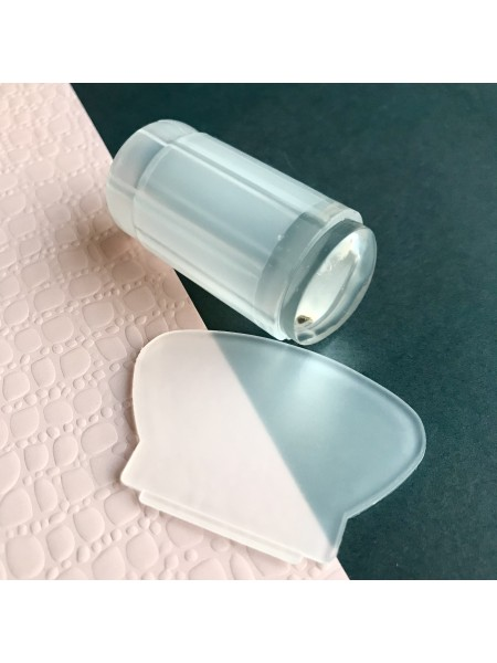 Штамп для стемпинга со скребком, односторонний силиконовый