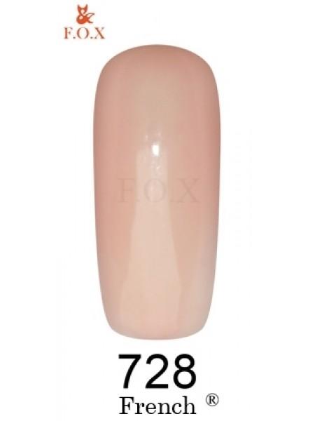 Гель лак F.O.X French 6 мл № 728 полупрозрачный бежево-розовый