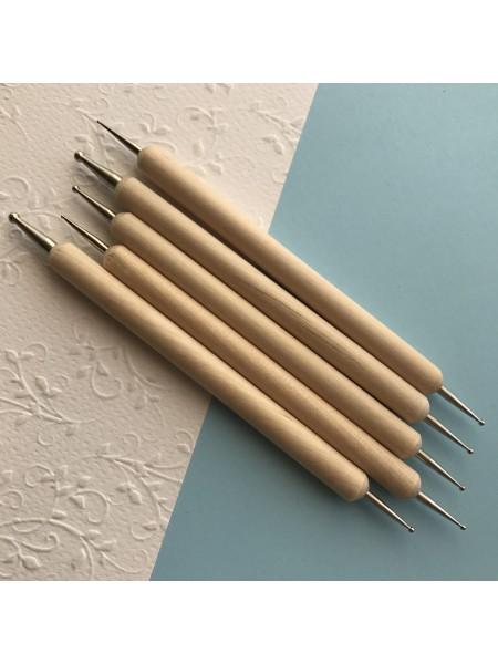 Набор из 5  дотсов для дизайна (деревянная ручка)