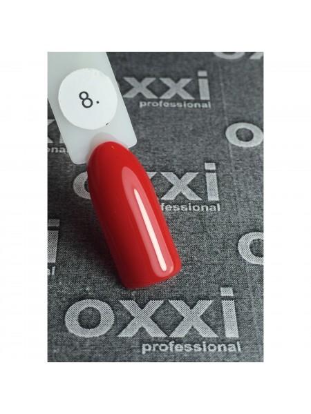 Гель лак Oxxi №008 красный, эмаль, 10 мл.