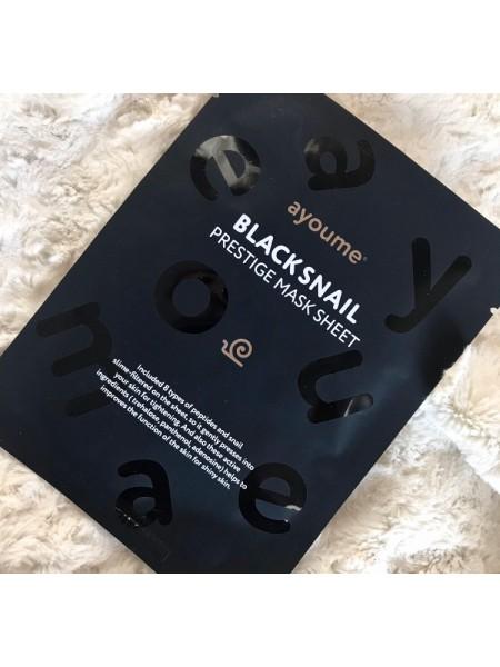 Ayoume маска для лица Black Snail Prestige Mask Sheet с муцином улитки и 8 пептидами, 20 мл